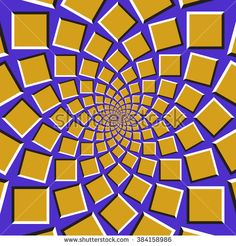 #Optical #illusion #background. Golden squares are moving circularly toward the center on blue background. Abstract background in form of concentric web.