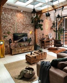 Home Inspiration : JellinadetmarThe Definitive Source for Interior Designers Interior House Design Definitive Designers Home Inspiration Interior JellinadetmarThe Source Interior Design Living Room Warm, Industrial Interior Design, Apartment Interior Design, Living Room Designs, Loft Apartment Decorating, Brick Interior, Diy Interior, Bohemian House, Bohemian Style