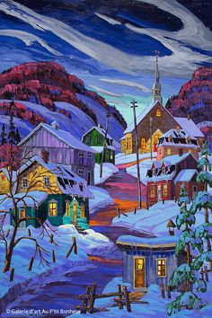 """""""Oh I love the colours in this one. Another cold painting. Vladimir Horik is the artist. Landscape Art, Landscape Paintings, Fantasy Landscape, Canadian Art, Winter Scenes, Rock Art, Impressionist, Cute Wallpapers, Watercolor Art"""