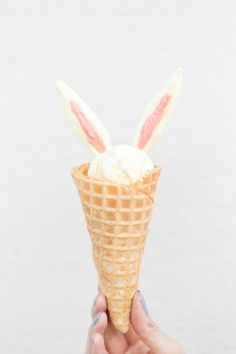 DIY bunny ear ice cream cones.