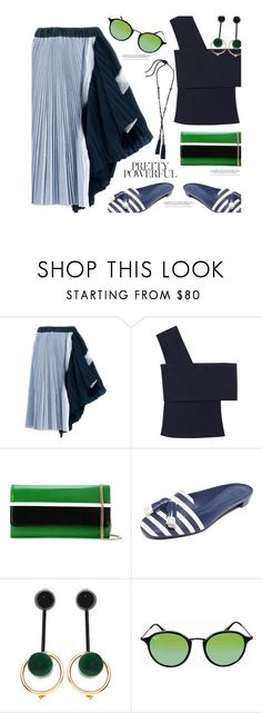 """60-Second Style: Asymmetric Skirts'"" by dianefantasy ❤ liked on Polyvore featuring Sacai, Rosetta Getty, Lanvin, Tory Burch, Marni, Ray-Ban, polyvorecommunity, polyvoreeditorial, asymmetricskirts and 60secondstyle"