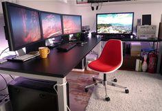 L shaped desk with plenty of real estate