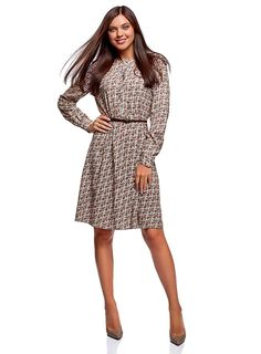 oodji Collection Women's Belted Viscose Dress: Amazon.co.uk: Clothing Spring Outfits Women Casual, Spring Fashion Outfits, Casual Dresses, Casual Outfits, Dresses For Work, Belts For Women, Clothes For Women, Viscose Dress, Everyday Fashion