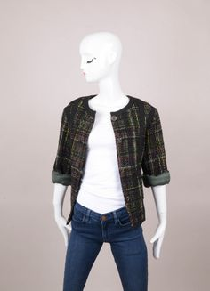 CHANEL Black and Green Woven Detail Three Quarter Length Sleeve Jacket – Luxury Garage Sale
