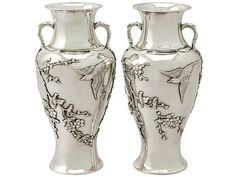 Pair of Chinese Export Silver Vases - Antique Circa 1890 SKU: A4794 Price: GBP £2,450.00 http://www.acsilver.co.uk/shop/pc/Pair-of-Chinese-Export-Silver-Vases-Antique-Circa-1890-66p8422.htm