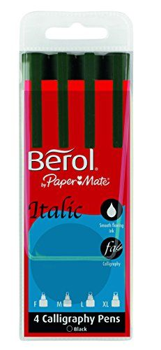 From 9.98 Berol Italic Pen Assorted Tips (0.6/2/3.5/5 Mm) - Black Pack Of 4