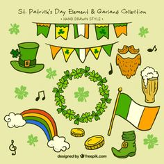 Pack of saint patrick hand drawn elements Free Vector