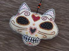 Red heart cat Calavera-felt ornament