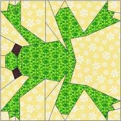 ALL STITCHES - FROG PAPER PIECING QUILT BLOCK PATTERN .PDF -096A