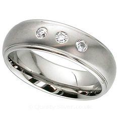Geti Diamond Set Titanium Ring. Titanium & Diamond Wedding Rings.