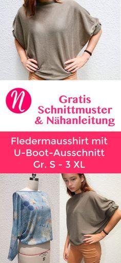 Gratis Schnittmuster: Kimono-Shirt mit langen Ärmel und U-Boot-Ausschnitt ❤ PDF Schnittmuster zum Ausdrucken ❤ Gr. S - 3XL ✂ Nähtalente.de - Magazin für kostenlose Schnittmuster und Hobbyschneider/innen ✂ Free sewing pattern for an easy kimono shirt with bootneck. PDF pattern for print at home ❤ Size S - 3 XL ✂ Nähtalente.de - Magazin for sewing and free sewing patterns ✂