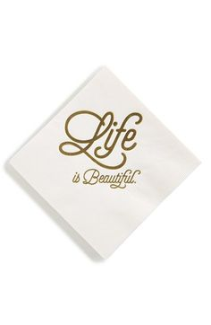 Life is beautiful gold and white cocktail napkins