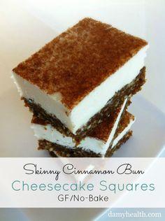 Skinny Cinnamon Bun Cheesecake Squares #nobake #glutenfree #grainfree #bestrecipesever #cleaneating #skinnyrecipes #highfiber #healthycheesecakes #cleaneatingrecipes http://www.damyhealth.com/2013/03/12-healthy-delicious-cheesecake-recipes/