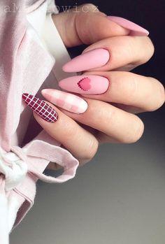 43 colorful winter nail models and care page 19 red nail polish, winter nai Best Acrylic Nails, Acrylic Nail Designs, Nail Art Designs, Stylish Nails, Trendy Nails, Cute Nails, Pink Nails, Gel Nails, Nail Polish