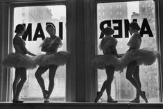 Ballerinas standing on window sill in rehearsal room at George Balanchine's School of American Ballet. Alfred Eisenstaedt, New York, NY, 1936