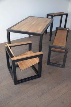Coup d'œil sur les meubles Hewel mobilier en bois et métal. Mélange de style industriel, contemporain et design pour cette table à manger, cette console, ce banc et ce fauteuil !