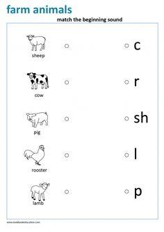 Worksheet match the beginning sound, farm animals, for preschool and kindergarten. Alphabet Activities, Preschool Activities, Baby Drawing Easy, Animal Facts For Kids, Beginning Sounds Worksheets, Animal Worksheets, English Lessons For Kids, Letter Recognition, Letter Tracing