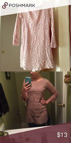 Lace mini dress. Perfect for the holidays! This dress is lace top to bottom, with a beautiful blush color and sheer sleeves. Xhilaration Dresses Mini
