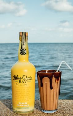 BEACH MONKEY // It's okay if it's a little messy // 2 oz. Blue Chair Bay Banana Rum Cream + chocolate milk // Rim a glass with chocolate syrup and fill with ice. Add chocolate milk and Blue Chair Bay Banana Rum Cream. Tastes like a chocolate-dipped banana!