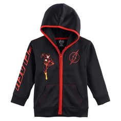 Boys 4-7 Marvel The Flash Zip Hoodie, Size: M(5/6), Black