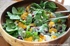 Tasteful Tuesday: Spinach Salad with Mandarin Oranges  Replace blue cheese with feta.
