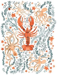 Lobster and Octopus - A gallery-quality illustration art print by Vikki Chu for sale. Art And Illustration, Octopus Illustration, Illustrations, Lobster Art, Animals Beautiful, Watercolor Paintings, Watercolours, Pattern Design, Groomsmen
