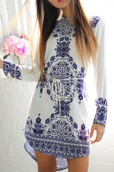 White and Blue Mixed Mosaic Dress