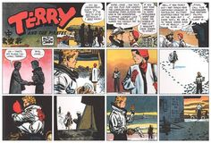 """Milton Caniff's very last """"Terry and the Pirates"""" Sunday page, December 29, 1946, and one of the finest examples of his comic art. After twelve years on Terry, Caniff began """"Steve Canyon"""" the following month for a different syndicate, and the estimable George Wunder (and later George Evans) took over the feature."""