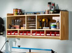 Simple upgrades turn your shop vacuum into an efficient dust-collection system. Utility Shelves, Drawer Shelves, Storage Shelves, Storage Spaces, Storage Cart, Shelving Ideas, Wood Shelf, Woodworking Projects Plans, Teds Woodworking