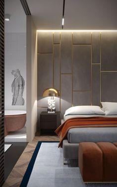 Modern Master Bedroom, Modern Bedroom Design, Master Bedroom Design, Contemporary Bedroom, Luxury Bedroom Furniture, New Interior Design, Headboard Designs, European Home Decor, Bedroom Styles