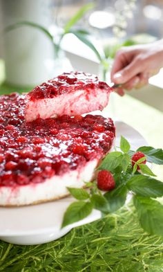 Vadelmainen juustokakku | Maku Raw Food Recipes, Sweet Recipes, Cake Recipes, Dessert Recipes, Finnish Recipes, Delicious Desserts, Yummy Food, Scandinavian Food, Sweet Pastries