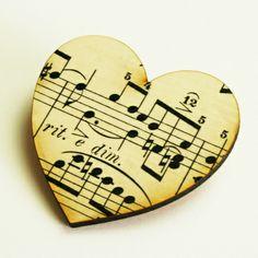 vintage music brooch - hand-made.