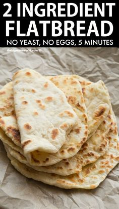 2 Ingredient Flatbread Recipe- No yeast! Easy and delicious two ingredient dough flatbreads PERFECT to make wraps, flatbread pizzas, quesadillas and more! Vegan, Gluten Free and Dairy Free. Flatbread Recipe No Yeast, Gluten Free Flatbread, Vegan Flatbread Recipes, Easy Gluten Free Pizza Crust, Gluten Free Wraps, Gluten Free Recipes, Indian Food Recipes, Vegetarian Recipes, Cooking Recipes