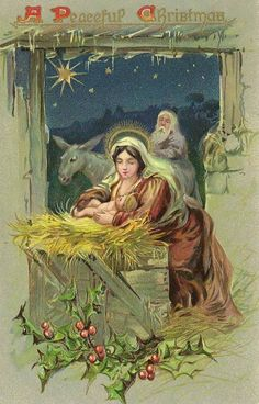 Vintage Nativity Card of the Holy Family