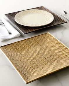 Square Rattan Charger Plates