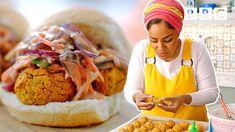 Insane baked bean falafel burgers recipe! | Nadiya's Time to Eat - BBC - YouTube Burger Recipes, Veggie Recipes, Vegetarian Recipes, Cooking Recipes, Beans Recipes, Healthy Recipes, Falafels, Nadiya Hussain Recipes, Falafel Burgers