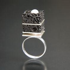 """Chocolate Dessert Ring 1""  Silver, Pearl, & Stone Ring    Created by Aleksandra Vali |"
