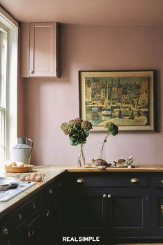 Fresh, rich color palette in these painted kitchen cabinets - Sulking Room Pink walls and Paean Black cabinets from Farrow & Ball // Centered by Deisgn Kitchen Furniture, Kitchen Colors, Kitchen Wall, Painting Kitchen Cabinets, Black Kitchen Cabinets, Devol Kitchens, Yellow Kitchen, Kitchen Design, Farrow And Ball Kitchen