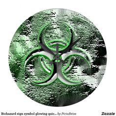 Biohazard sign symbol glowing quicksilver clock