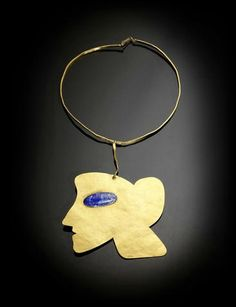 signed, numbered and dated Man Ray/ (to the figure's neck); gold pendant necklace with a cabochon lapis lazuli set on either side. Pendant size: x cm x 4 in). 13 cm in). Modern Jewelry, Jewelry Art, Gold Jewelry, Vintage Jewelry, Unique Jewelry, Jewellery, Man Ray, Gold Pendant Necklace, Metal Necklaces