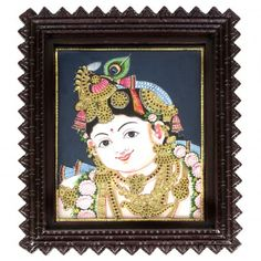 Krishna #TanjorePainting - Traditional and classic tanjore painting featuring a young #LordKrishna.
