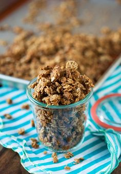 Peanut Butter Granola. Made with creamy peanut butter, honey, cinnamon, vanilla, and old-fashioned rolled oats.