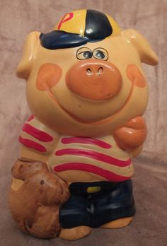 Vintage Baseball Player Pig Piggy Bank by MoonbearConnections