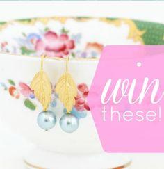 Win a beautiful pair of jacaranda design's gold leaf and blue pearl earrings!!!  http://www.rikrakstudio.blogspot.ca/2012/09/a-gorgeous-giveaway-with-jacaranda.html