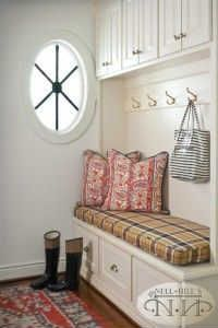How cute is this mud room? Love the Burberry plaid #nellhills #redaccents #white