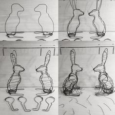 Four main stages of making the wire hares. - Sculpture - Print the sulpture yourself - Four main stages of making the wire hares. Chicken Wire Art, Chicken Wire Sculpture, Chicken Wire Crafts, Wire Art Sculpture, Rabbit Sculpture, Wire Sculptures, Abstract Sculpture, Bronze Sculpture, Metal Garden Art