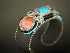 Blue and pink bracelet colorful cuff bracelet cuff by pUkke
