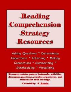 This 183 page resource contains everything you need to support your students' learning of the reading comprehension strategies $10