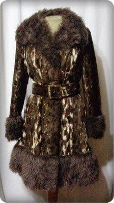 Vintage 70s Coat Jacket Faux Fur Shaggy Wide Collar w Belt Disco B36