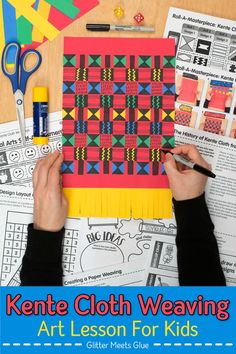 Inspire your students to design a colorful Ghana kente cloth weaving for Black History Month. Art Games For Kids, Art Lessons For Kids, Art Lessons Elementary, Projects For Kids, Art Projects, Paper Weaving, Weaving Art, African Art For Kids, Art Sub Plans